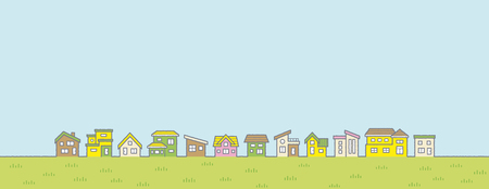 Illustration pour Illustration of the vernal rural scenery - row of houses and sky and grassy plain - for more landscape format - image libre de droit