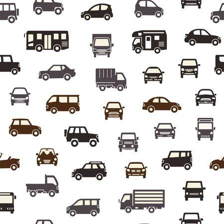 Illustration pour seamless background of various car icon - silhouette - chic color - image libre de droit