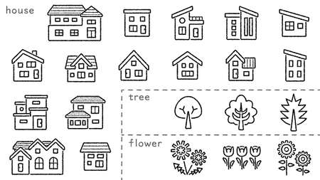 Photo pour icon set of house and tree and flower - only hand writing style line drawing - Classification version - image libre de droit