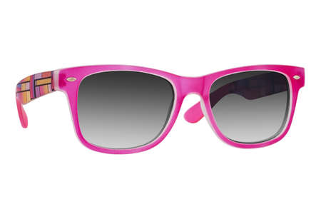 Photo for Sunglasses with a pink plastic frame and black lenses isolated on white background. - Royalty Free Image