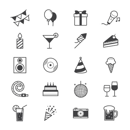 Illustration pour Celebration Party Icons Line - image libre de droit