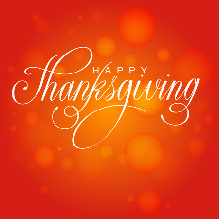 Happy Thanksgiving Day. Vector Illustration with Hand Lettered Text  with red background.