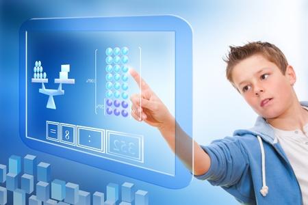 Young student touching virtual digital futuristic screen
