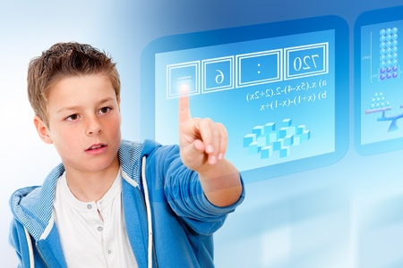 Young student with virtual futuristic interface simulating digital blackboard
