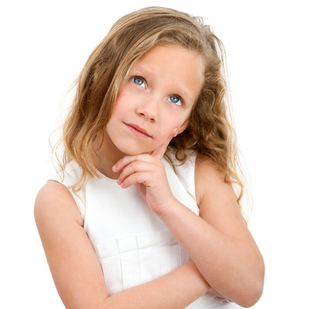Close up Portrait of cute little girl with wondering face expression  Isolated on white background