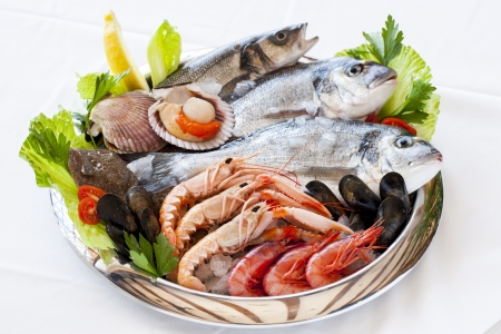Close up of fresh mediterranean seafood on ice.