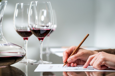 Extreme close up of female hand taking notes at red wine tasting.