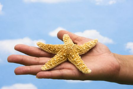 Starfish in hand with a sky background