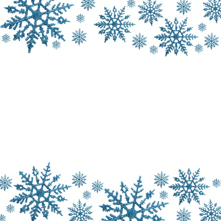 Snowflake border with white background, winter time
