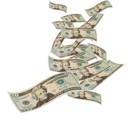Photo pour Twenty dollar bills floating on a white background, floating money - image libre de droit