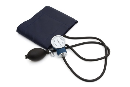 A blood pressure reading device, Sphygmomanometer isolated on white, High blood pressure