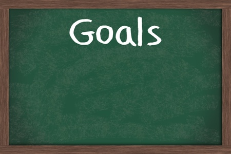 Writing your goals down on a blackboard, business or personal goals