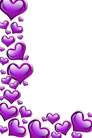 A purple heart background isolated on a white background with copy space, romantic background