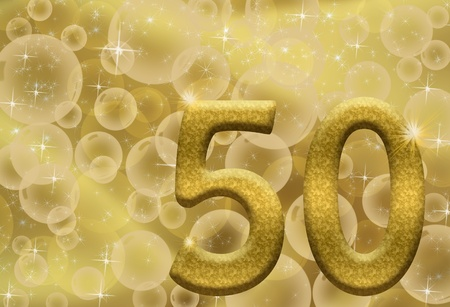 The number fifty 50 in gold with golden bubble background,  50th anniversary