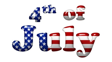 The words fourth of July in the American flag colors, Americas holiday