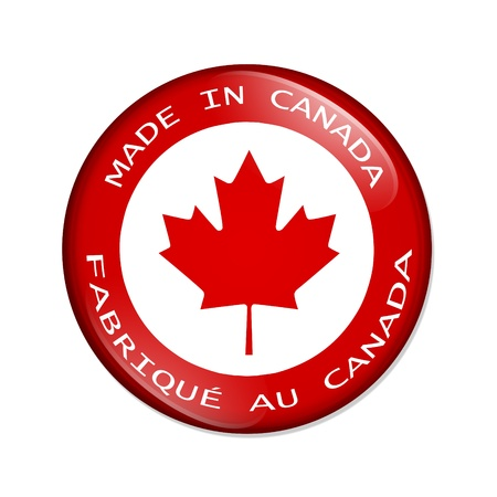 A red button with words made in Canada with a maple leaf isolated on a white background, Made in Canada button