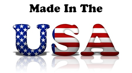 The words made in the USA in the American flag colors isolated on white