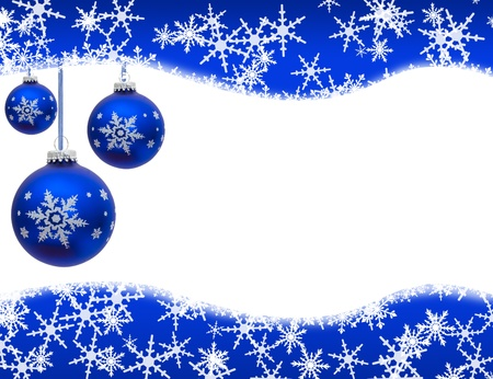 Christmas ornaments and snowflake border isolated on white, Christmas Time