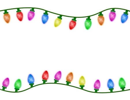 Multicolor Christmas lights border isolated on white, Christmas Time