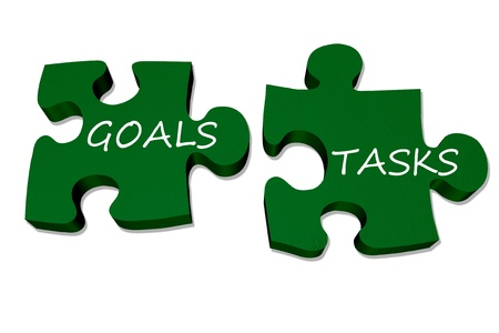 Green puzzle pieces with words goals and tasks isolated over white, Goals and tasks go together
