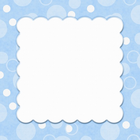 Blue Polka Dot background for your message or invitation with copy-space in middle