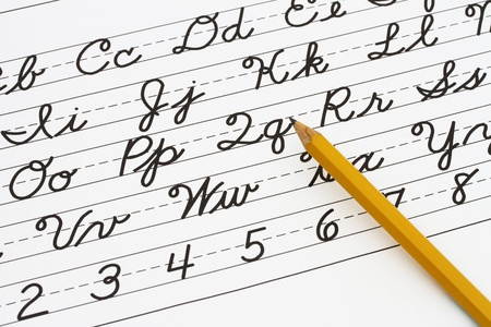 Example of cursive writing with a pencil, Learning cursive writing