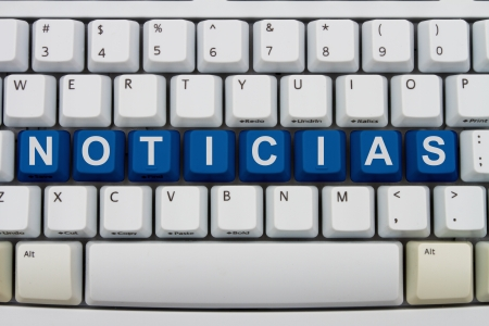 Computer keyboard keys with word noticias, Spanish for news, Spanish News online