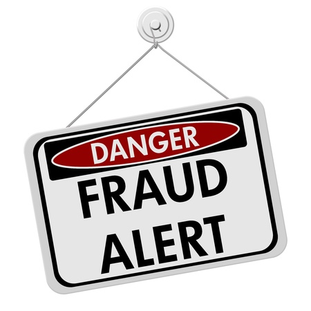 A red, white and black sign with the word Scam Alert isolated on a white background, Danger Fraud Alert