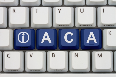 Computer keyboard keys with word ACA and information icon, Affordable Care Act Information Online