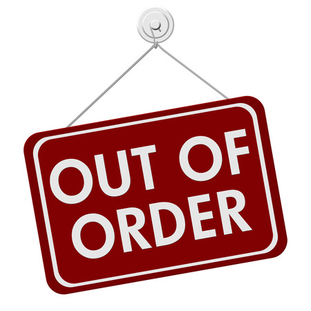 A red and white sign with the words Out of Order isolated on a white