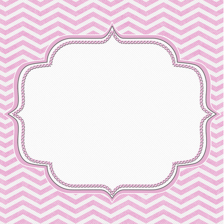 Pink and White Chevron Frame with Embroidery Background with center for copy-space, Classic Chevron Frame