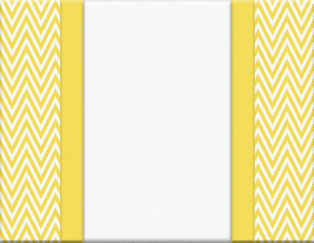 Yellow and White Chevron Zigzag Frame with Ribbon Background with center for copy-space, Classic Chevron Zigzag Frame