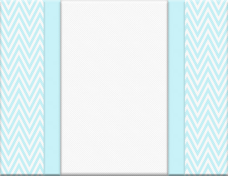 Teal and White Chevron Zigzag Frame with Ribbon Background with center for copy-space, Classic Chevron Zigzag Frame