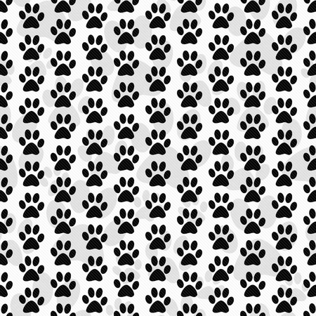 Black and White Dog Paw Prints Tile Pattern Repeat Background that is seamless and repeats