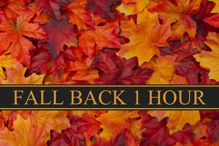 Foto de Fall Leaves Background and text Fall Back 1 Hour - Imagen libre de derechos