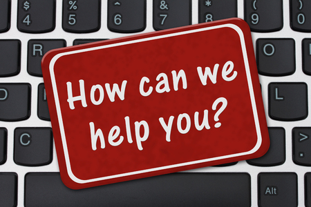 Photo for How can we help you Sign, A red sign with text How can we help you on a keyboard - Royalty Free Image