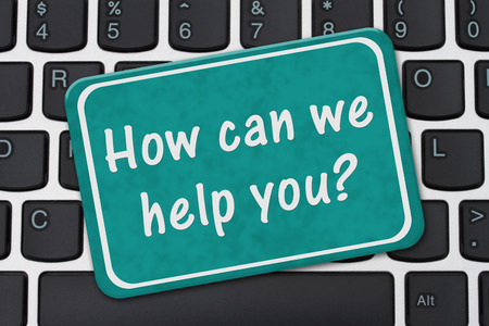 Photo for How can we help you Sign, A teal sign with text How can we help you on a keyboard - Royalty Free Image