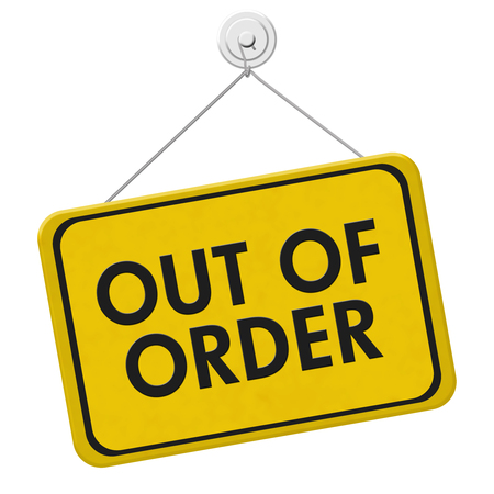 Out of Order Sign,  A yellow and black sign with the words Out of Order isolated on a white background