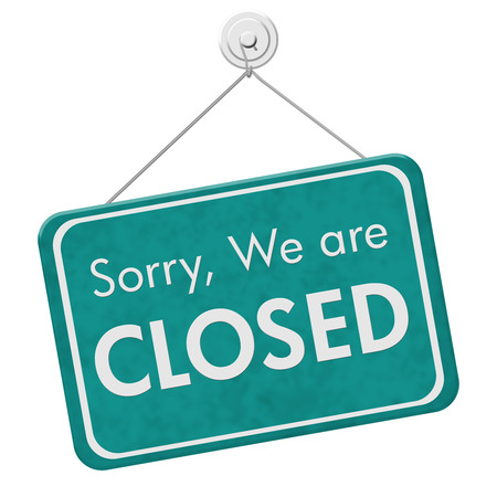 Sorry We are Closed Sign, A teal hanging sign with text Sorry We are Closed isolated over white