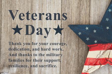 Photo for Veterans Day message thanking the military and their families text with USA patriotic old star on a weathered wood - Royalty Free Image
