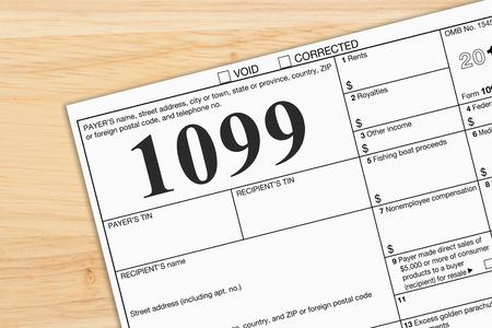 Photo pour A US Federal tax 1099 income tax form on a desk - image libre de droit