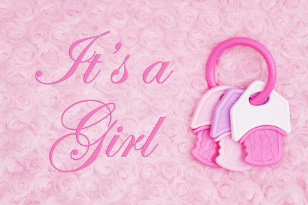 Photo pour It's a Girl message with a pink and white teething ring on pale pink rose plush fabric - image libre de droit