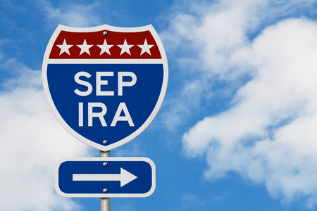 Photo pour Retirement with SEP IRA plan route on a USA highway road sign with sky - image libre de droit
