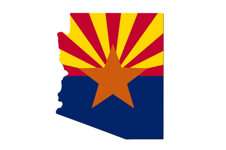 Photo pour Map of Arizona in the Arizona flag colors isolated over white - image libre de droit