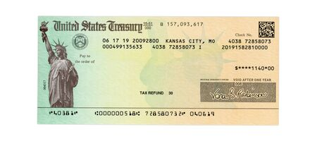 Photo pour United States Treasury check for either a federal tax refund or Social Security payment isolated on white - image libre de droit