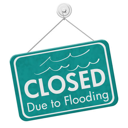 Photo for Closed Due to Flooding sign isolated over white - Royalty Free Image