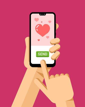 Illustration pour Hand holds the smartphone. Online greeting love card in mobile application. Flat vector modern phone mock-up illustration - image libre de droit