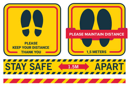 Illustration for Social distancing avoid coronavirus covid19. Stay safe 1.5 meters apart. Please keep your distance. Line sticker floor. - Royalty Free Image