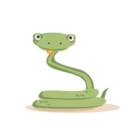Cartoon snake isolated,   illustration