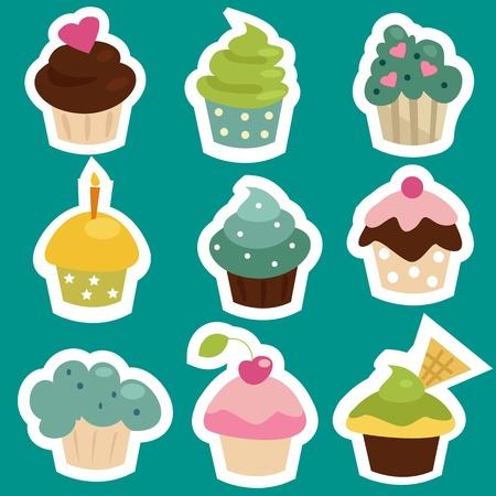 Ilustración de Cute cupcake stickers, vector illustration - Imagen libre de derechos